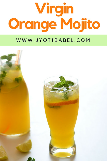 Virgin Orange Mojito is a perfect non-alcoholic party drink. With orange juice, a dash of ginger juice and aerated drink, this is simple, fuss-free recipe. Check the recipe at www.jyotibabel.com