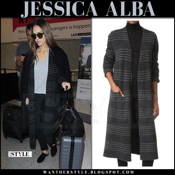 Jessica Alba in grey striped jenni kayne coat and black mules vince georgia what she wore april 2017
