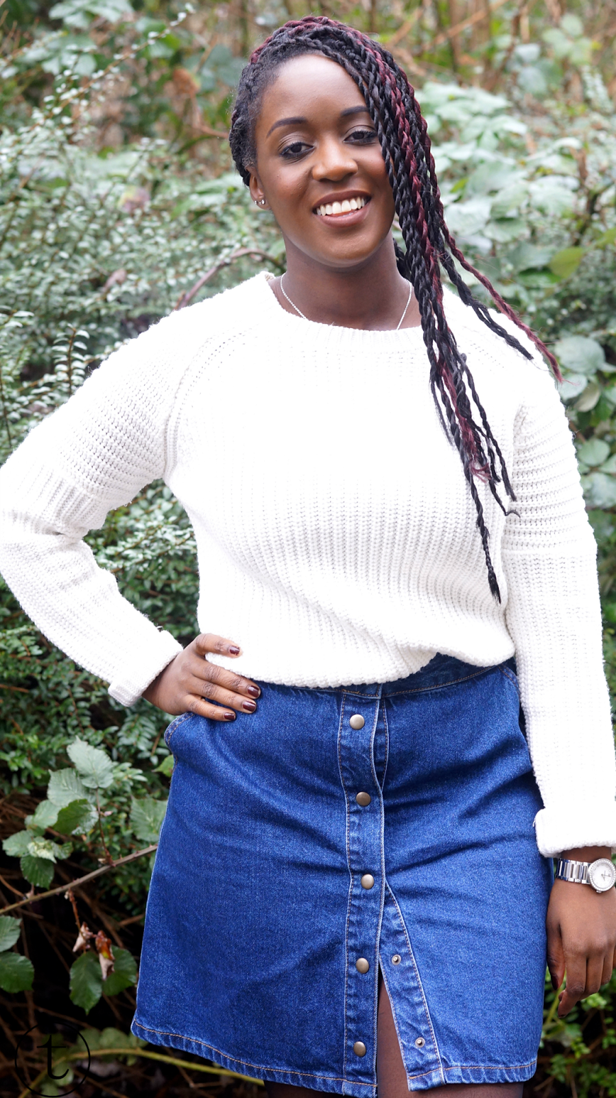 outfit post wearing denim skirt from asos trudy danso