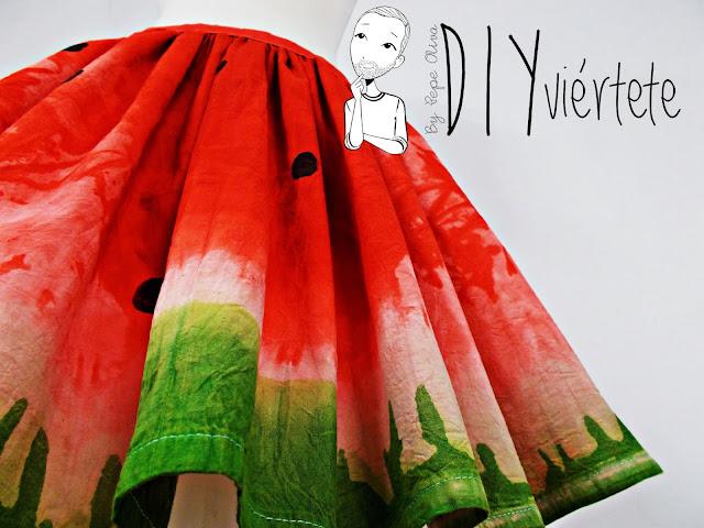DIY-tintes iberia-teñir-rojo-verde-verano-fruta-sandía-estampado-melón-watermelon-falda-pepefalda-newlook-10