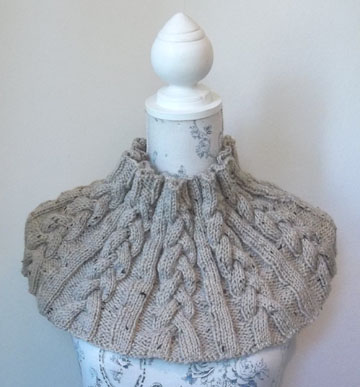 Aran Tweed Cable Cowl Designer Hand Knitting Pattern