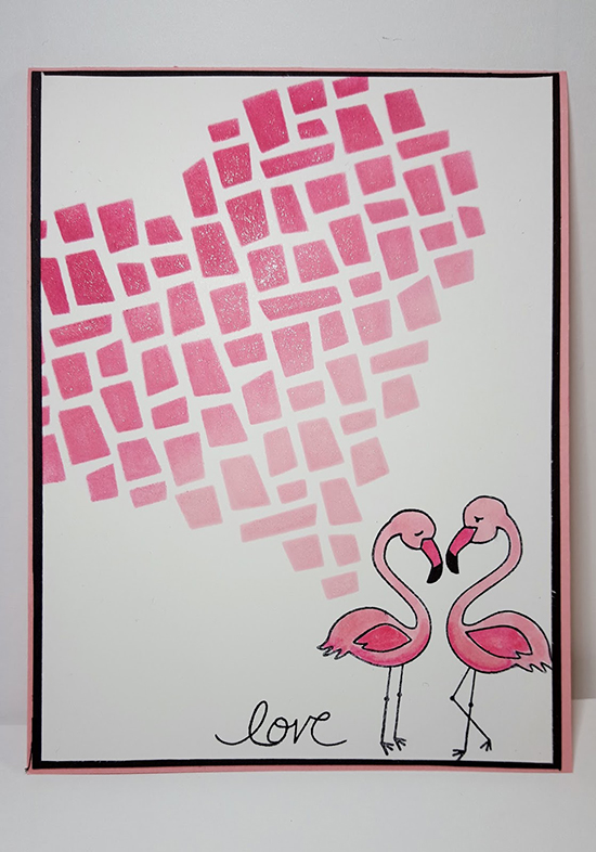 Flamingo Love Valentine card by Peggy | Flirty Flamingos stamp set by Newton's Nook Designs #newtonsnook