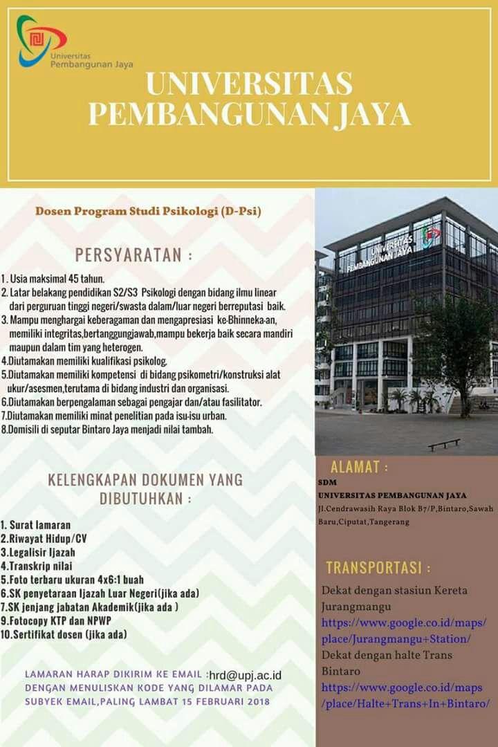 Lowongan Dosen Prodi Psikologi Universitas Pembangunan Jaya (UPJ)