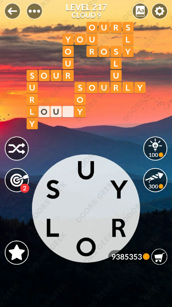 Wordscapes Level 217 answers, cheats, solution for android and ios devices.