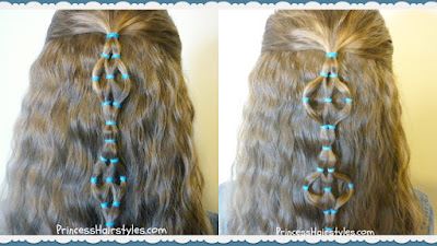 elastic design hairstyle, stretched and unstretched.