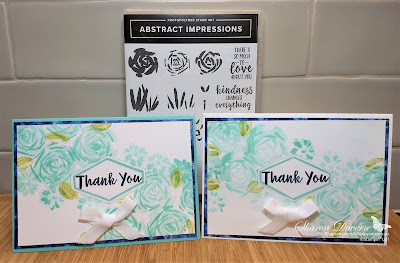 Abstract Impressions, Costal Cabana, Garden Impressions, Stampin' Up, Thank you cards,