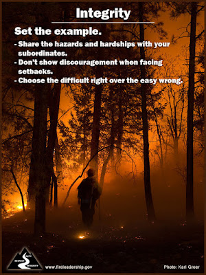 Integrity: Set the Example  Share the hazards and hardships with your subordinates. Don't show discouragement when facing setbacks. Choose the difficult right over the easy wrong.  [Photo credit: Kari Greer/USFS]