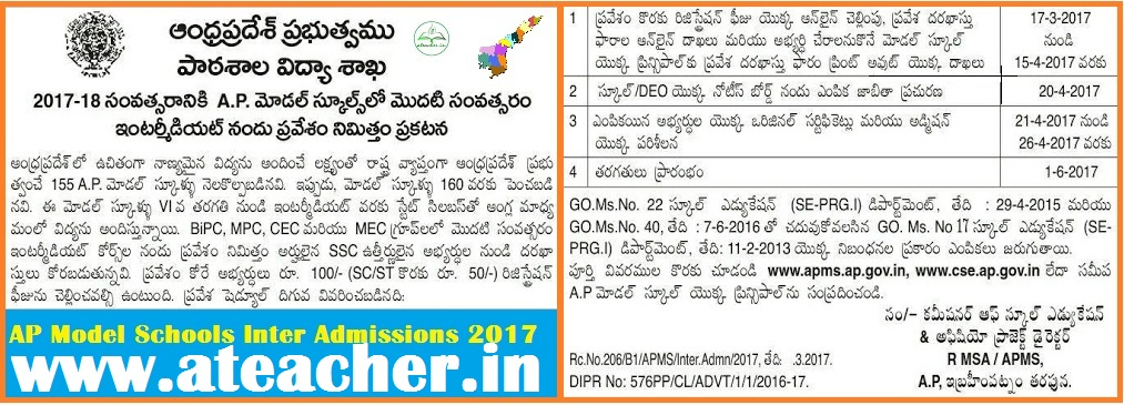 AP Model Schools Inter Admissions Notification 2017