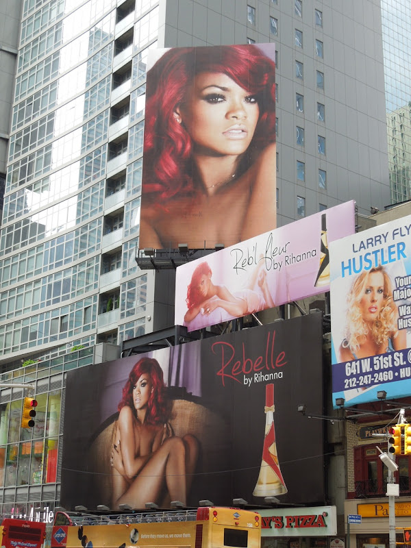 Rebelle Rihanna fragrance billboards NYC
