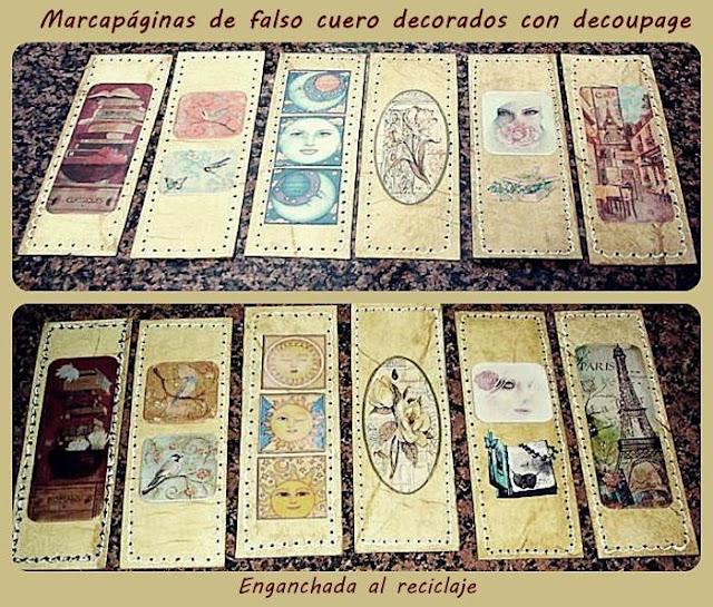 Marcapáginas hechos con la técnica de falso cuero y decorados con decoupage