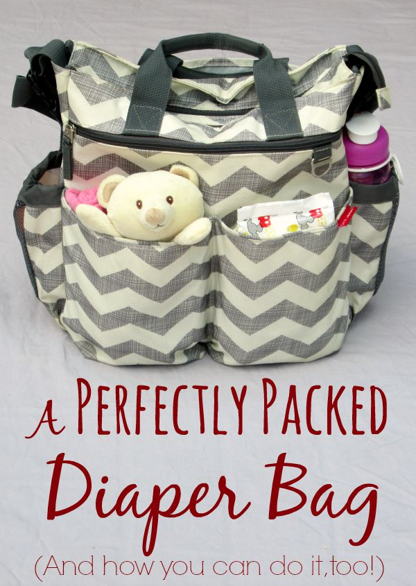 A perfectly packed diaper bag. Includes everything you need in your baby's diaper bag. Don't forget any of the essentials! Use the free printable checklist.