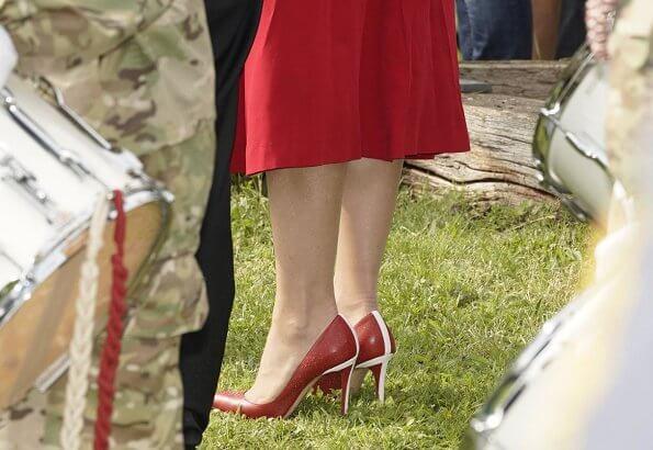 Crown Princess Mary wore Raquel Diniz Armonia silk-georgette dress. Danish flag