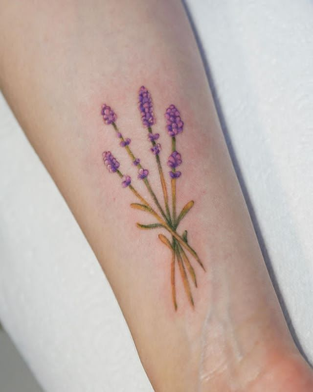 Lavender flower Tattoo on forearm