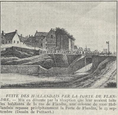 Kolonne van 1.100 vluchtende Hollanders passeren de Naamse Poort op 23 september 1830