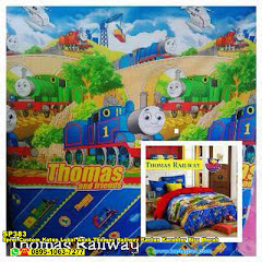 Sprei Custom Katun Lokal Anak Thomas Railway Kartun Karakter Biru Merah