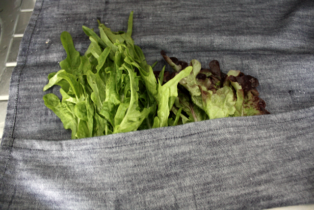 Pack the lettuce in a kitchen towel