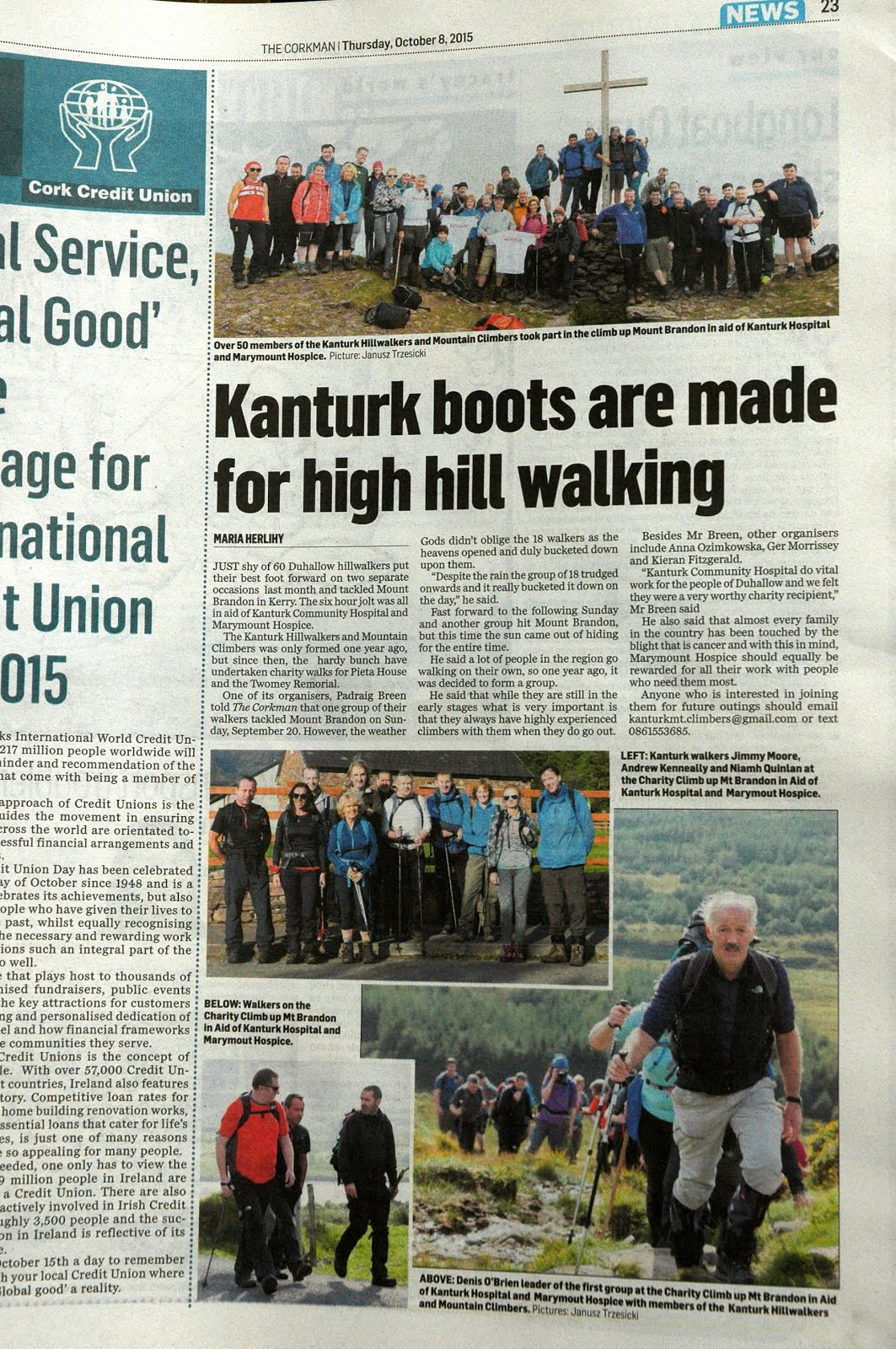 Charity Climb Mount Brandon 2015 in The Corkman