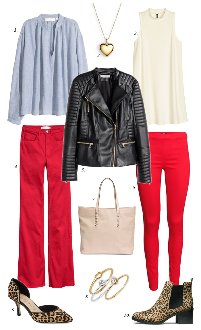 red skinny jeans, leopard boots, moto jacket, chambray shirt, white blouse