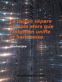 la raison sépare, l'intuition voit le tout, la globalité