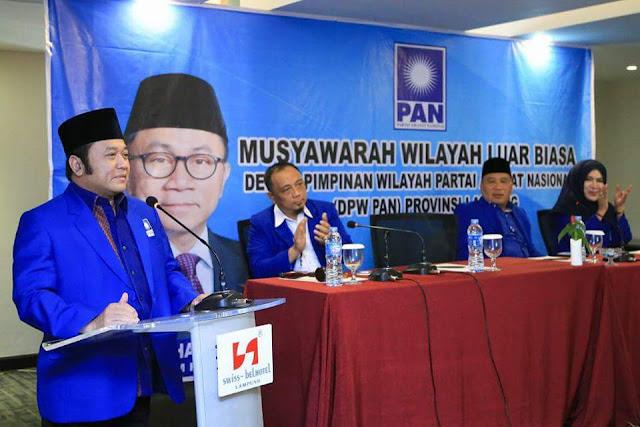 Bupati Lampung Selatan, Zainuddin Hasan Saat Terpilih Menjadi Ketua DPW Partai Amanat Nasional