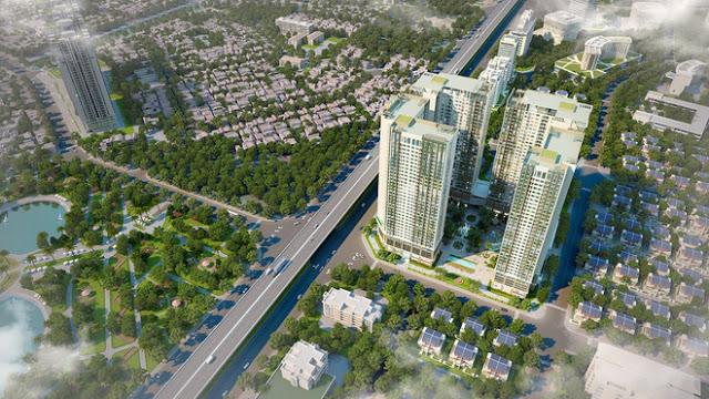 Phối cảnh từ trên cao chung cư Eco Green City