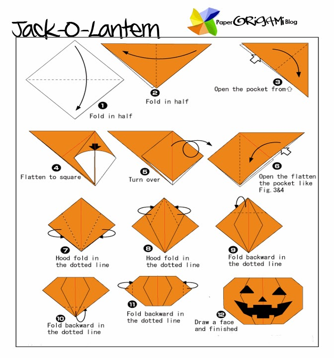 Halloween Origami: Jack O' Lantern | Paper Origami Guide on