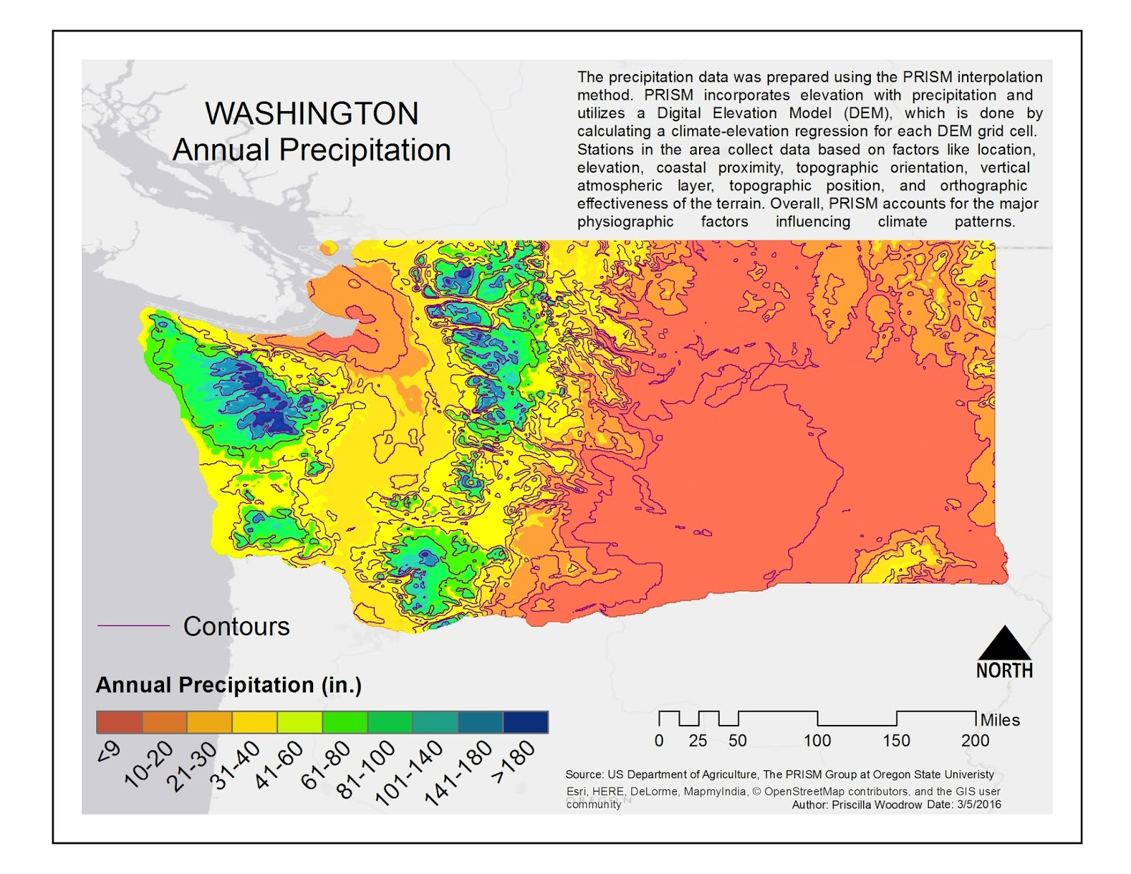 this map depicts the annual precipitation over a 30 year period in the state of washington the data was prepared and derived using the prism interpolation