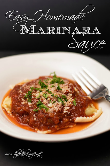 The marinara sauce over ravioli, on a white plate, with the title at the top.