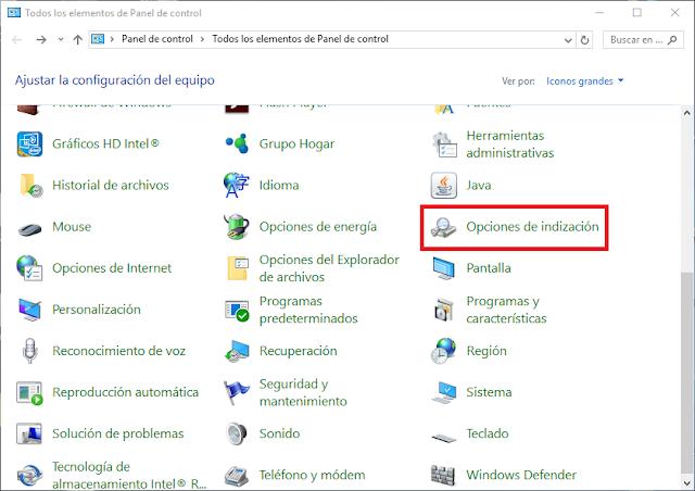 Panel de control de Windows 10 icono Opciones de Indización.