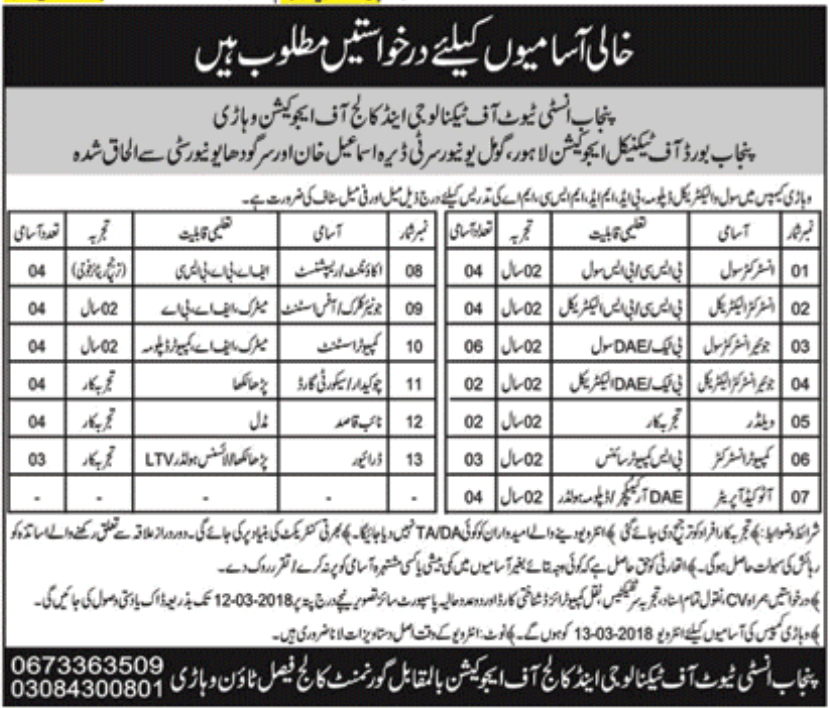 Jobs In Punjab Institute Of Technology And College Of Education Vehari 2018 for 48 Vacancies