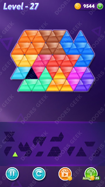 Block! Triangle Puzzle 12 Mania Level 27 Solution, Cheats, Walkthrough for Android, iPhone, iPad and iPod
