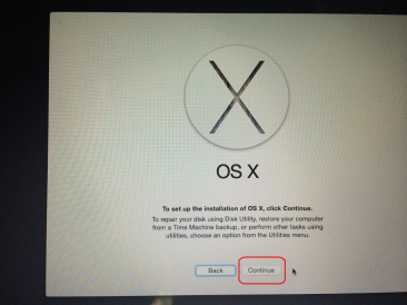 Continue To Clean Install OS X Yosemite
