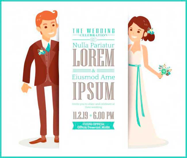 Wedding invitation with cute bride and groom download