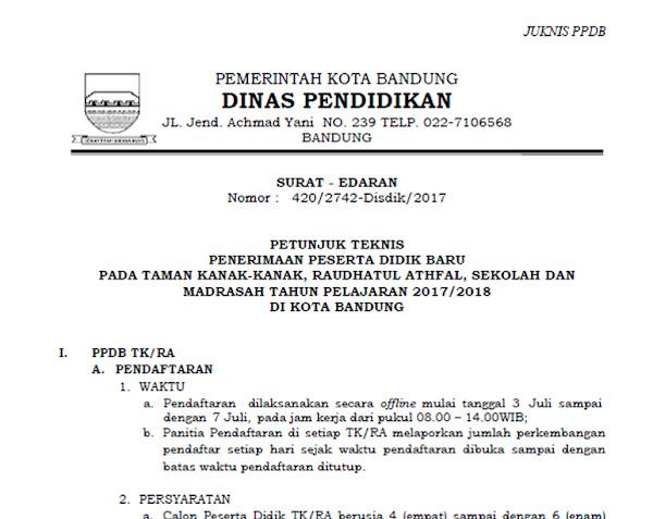 Juknis PPDB Kota Bandung 2017