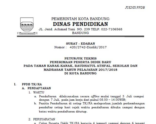 Petunjuk Teknis (Juknis) PPDB TK/RA Kota Bandung 2017