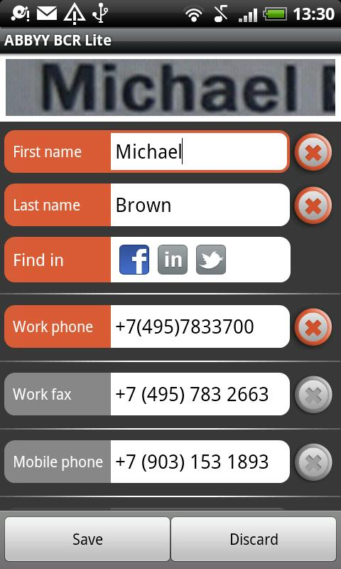 Scan business card add to contact list with android app ehowportal abbyybusinesscardreaderfreedownloadforandroid reheart Choice Image