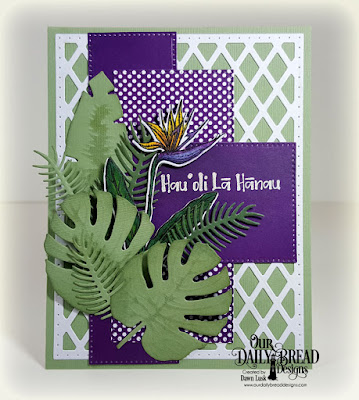 Our Daily Bread Designs Stamp Set: Aloha, Paper Collection: Boho Bolds, Custom Dies: Tropical Leaves, Ferns, Bird of Paradise, Pierced Rectangles, Lattice Background