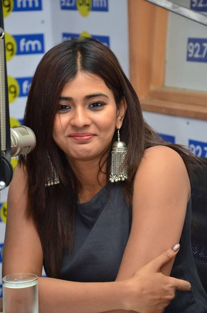 Hyderabadi Girl Hebah Patel In Blue Dress At BIG FM Movie Promotions