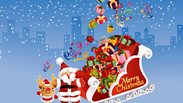 santa merry christmas cartoon funny image wish