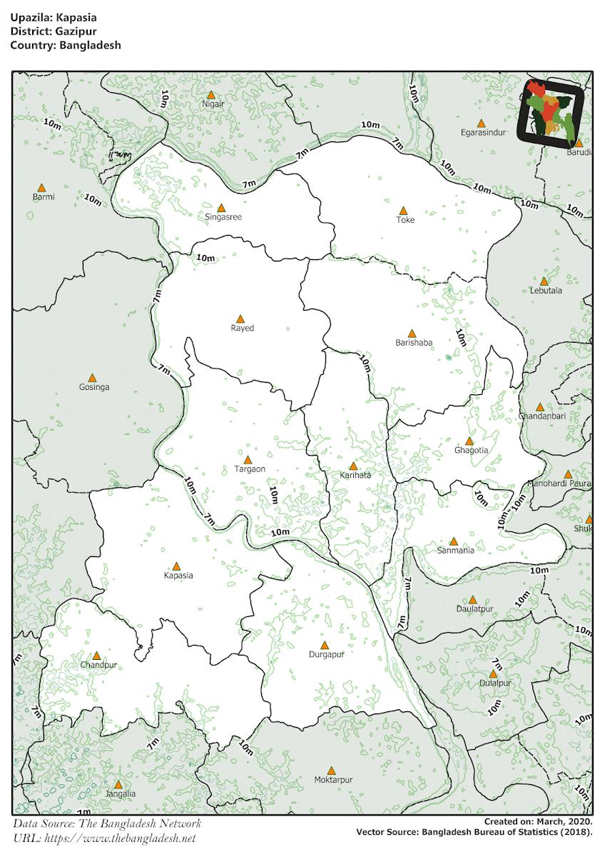 Kapasia Upazila Elevation Map Gazipur District Bangladesh
