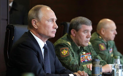 Vladimir Putin at the Luzhsky training ground during the main stage of the Zapad-2017 joint Russian-Belarusian strategic exercises.