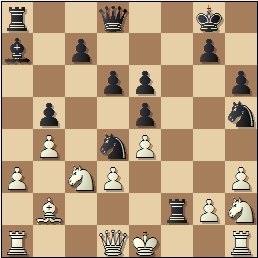 Partida de ajedrez E. Trilla vs. Jordi Torres en 1949, posición después de 16...Txf2!!