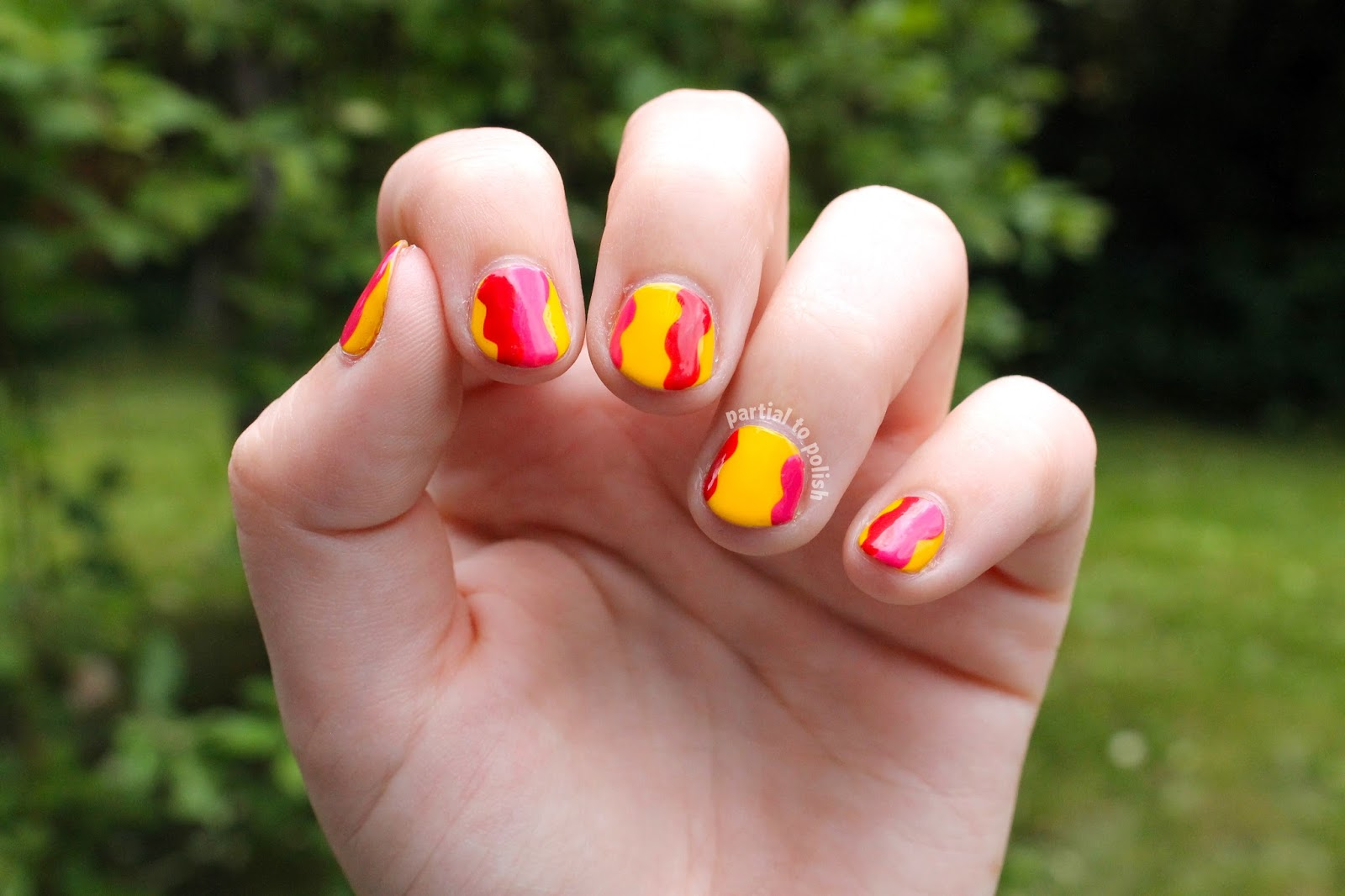 Partial To Polish Bright Warm Toned Squiggly Nail Art Featuring