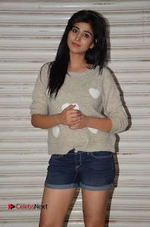 Actress Model Shamili (Varshini Sounderajan) Stills in Denim Shorts at Swachh Hyderabad Cricket Press Meet  0014.JPG
