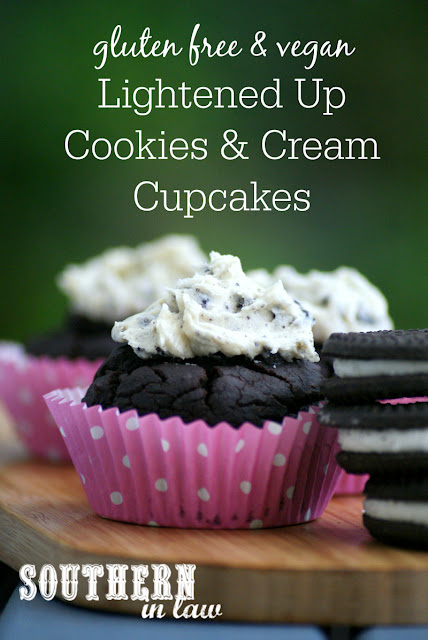 Healthy Lightened Up Cookies and Cream Cupcakes - oreo cupcakes, gluten free, vegan, low calorie, egg free, dairy free, healthy cupcakes recipe