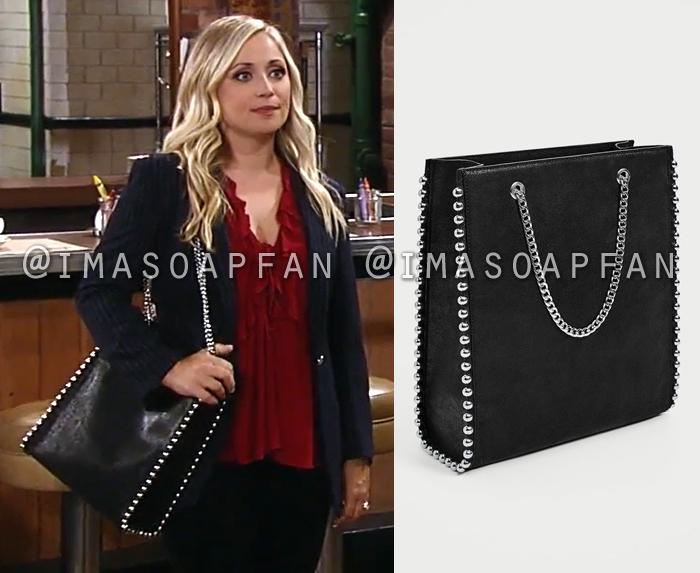 Lulu Spencer Falconeri S Studded Black Tote Bag General Hospital Season 55 Episode 09 06 17