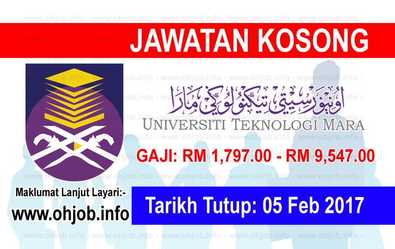 Jawatan Kerja Kosong Universiti Teknologi MARA (UiTM) logo www.ohjob.info februari 2017