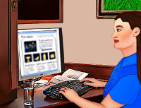 Cartoon of Wendy Cockcroft doing web design
