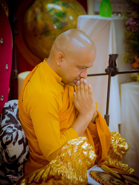 Most Venerable Mawarale Bhaddiya Thero conducting the dhamma sermon