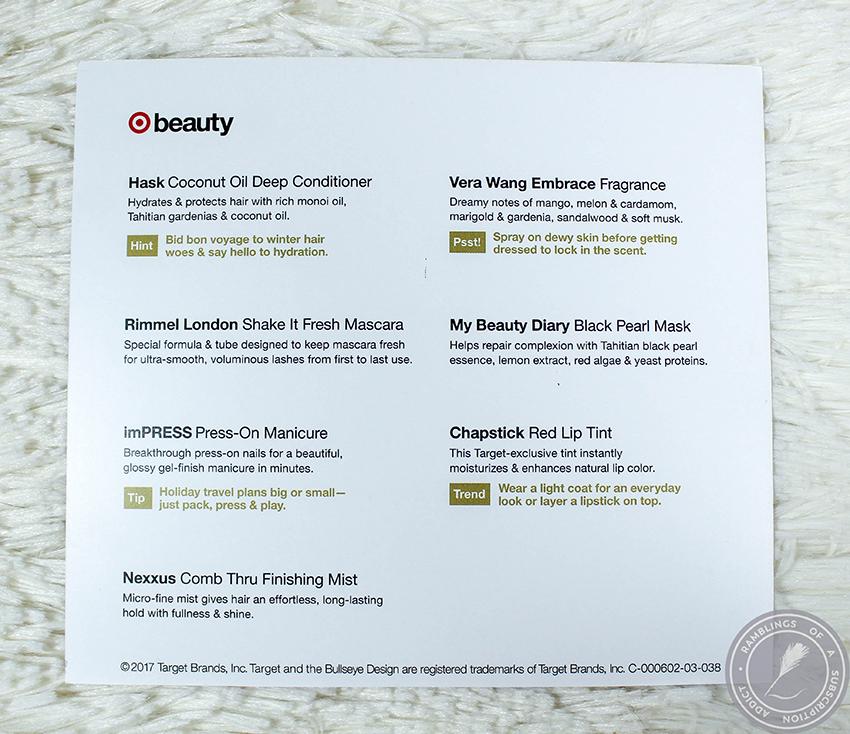 9841884db99 Target Beauty Box - December 2017 | Frankly Kiersten Reviews